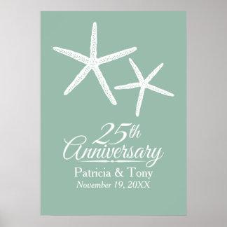 25th Wedding Anniversary Starfish Personalized Poster