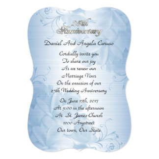 25th Wedding anniversary vow renewal blue satin Card