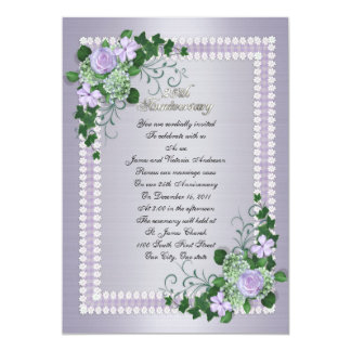 "25th Wedding anniversary vow renewal Lavender 5"" X 7"" Invitation Card"