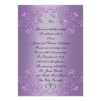 25th Wedding anniversary vow renewal Lavender Card