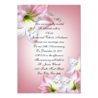 "25th Wedding anniversary vow renewal pink amarylis 5"" X 7"" Invitation Card"