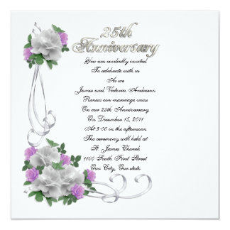"25th Wedding anniversary vow renewal White roses 5.25"" Square Invitation Card"