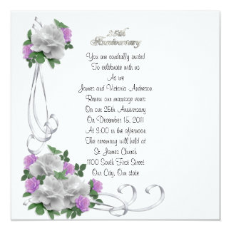 """25th Wedding anniversary vow renewal White roses 5.25"""" Square Invitation Card"""