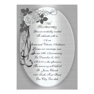 "25th Wedding anniversary vow renewal White roses 5"" X 7"" Invitation Card"