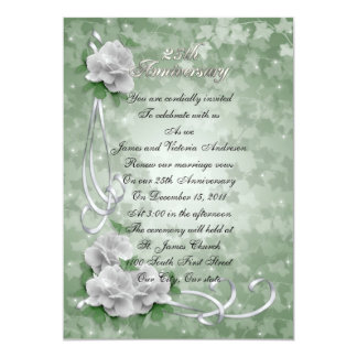 "25th Wedding anniversary vow renewal White roses 5"" X 7"" Invitation Card"
