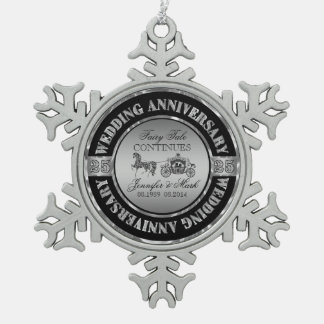 25th Wedding Anniversary-Wedding Horse & Carriage Pewter Snowflake Ornament