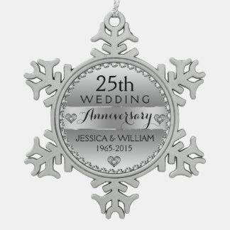 25th Wedding Anniversary White Diamonds & Silver Pewter Snowflake Ornament