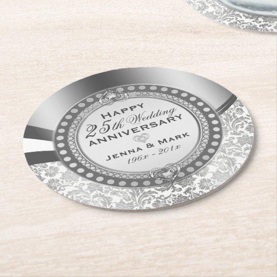 25th Wedding Anniversary White & Silver Damasks Round Paper Coaster