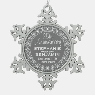 25th Wedding Anniversary with Bride & Groom Names Snowflake Pewter Christmas Ornament