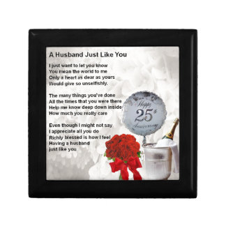 25th wedding husband poem gift box