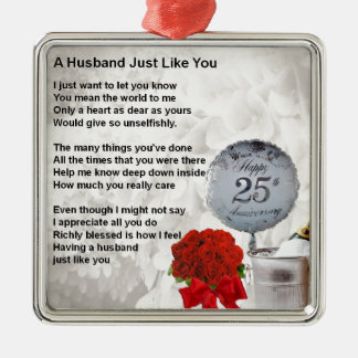 25th wedding husband poem metal ornament