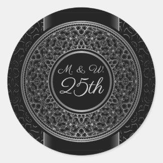 25thAnniversary Silver Medallion Monogram  Sticker