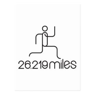 26.219 miles marathon distance postcard
