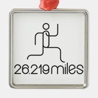 26.219 miles marathon distance Silver-Colored square ornament