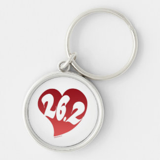26.2 Heart Silver-Colored Round Keychain