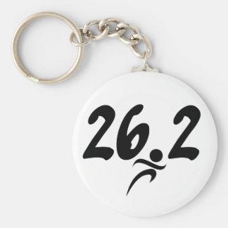 26.2 marathon basic round button keychain