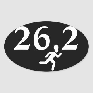 26.2 Marathon Running Oval Sticker