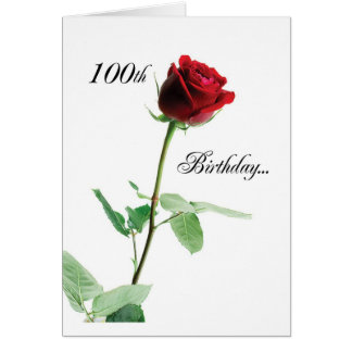 2724 Happy 100th Birthday Red Rose_O Card