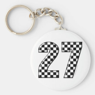 27 checkers flag number basic round button keychain