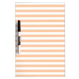 27 - Thin Stripes - White and Deep Peach Dry Erase Board