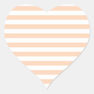 27 - Thin Stripes - White and Deep Peach Heart Sticker