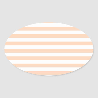 27 - Thin Stripes - White and Deep Peach Oval Sticker