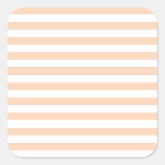 27 - Thin Stripes - White and Deep Peach Square Sticker