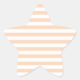 27 - Thin Stripes - White and Deep Peach Star Sticker