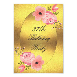 27th Birthday Faux Gold Foil Watercolor Flowers Card
