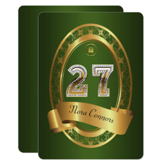 27th,birthday party woman man,elegant color card