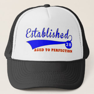 28 Birthday Aged To Perfection Trucker Hat