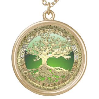 [28] Golden Celtic Tree of Life Gold Plated Necklace