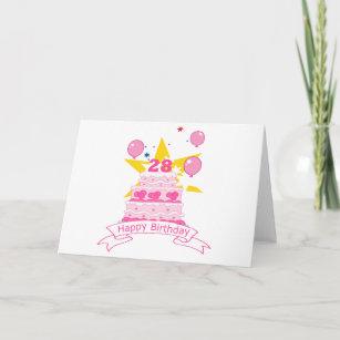 28 Year Old Birthday Cake Card