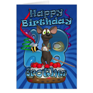 28th Birthday Card For Brother - Funky Mouse On A