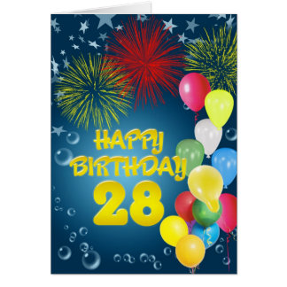 28th Birthday card with fireworks and balloons
