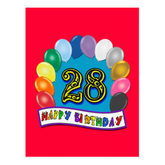28th Birthday Gifts with Assorted Balloons Design Postcard