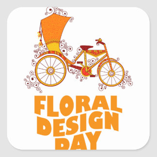 28th February - Floral Design Day Square Sticker