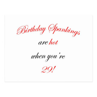 29 Birthday Spanking Postcard