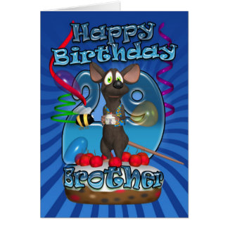 29th Birthday Card For Brother - Funky Mouse On A