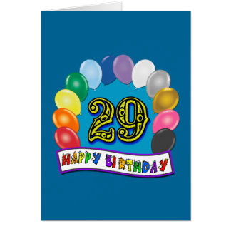29th Birthday Gifts with Assorted Balloons Design Card