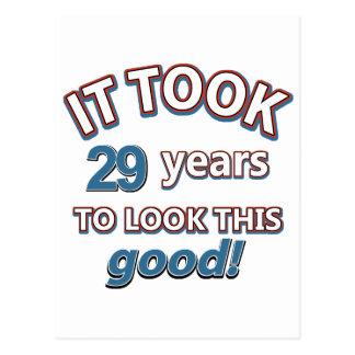 29th year birthday designs postcard