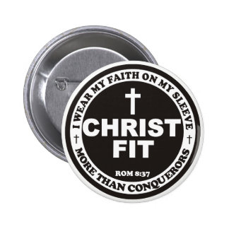 2.25 inch black Christ Fit round pin button