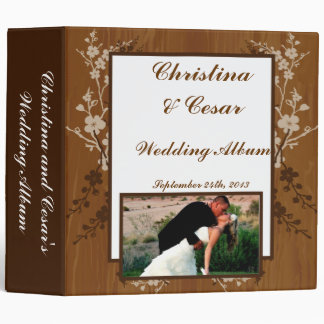 "2.8"" Photo Binder Wooden Plank Floral Wedding Flow"