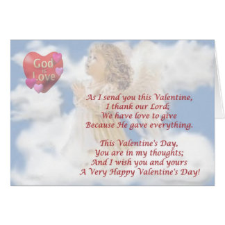 2. Angelic God Is Love - Religious Valentine Wish Card