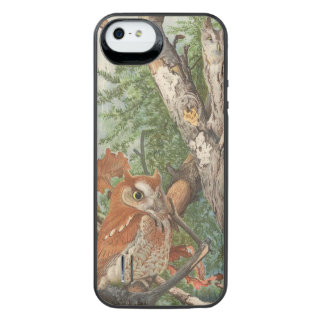 2 angry vintage owls in a tree iPhone SE/5/5s battery case