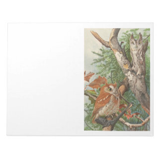 2 angry vintage owls in a tree notepad