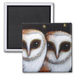 2 BARN OWLS Magnet
