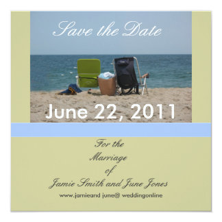 "2 Beach Chairs Save the Date Cards 5.25"" Square Invitation Card"