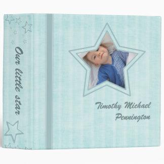"2"" blue chic stripes stars baby boy photo binder"