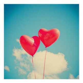 2 Bright Red Heart Shaped balloons Floating Upward Poster